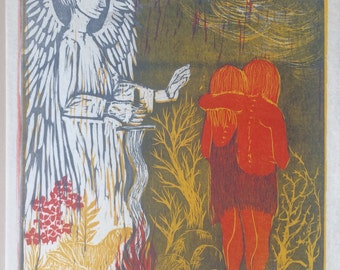 """Vintage 1968 Helen Siegl Original Block Print Adam and Eve """"Expulsion"""" for book Adam and Eve by Gwendolyn E. Reed"""