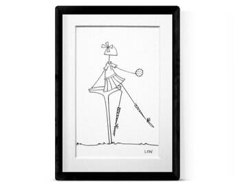 GOLFING GIRL 1 Original Illustration