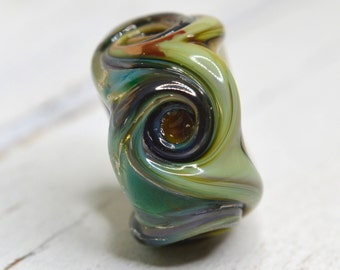 large chunky dread lock lamp work bead organic OOAK...dread bead....XTRA large hole style glass , SRA handmade 22317-18