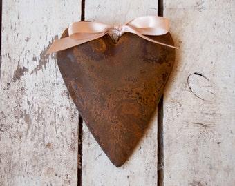 Primitive Rusty Tin Heart Ornament, Puffy Heart, Wedding Decor, Wedding Favor, Hanging Puffy Heart, Metal Heart