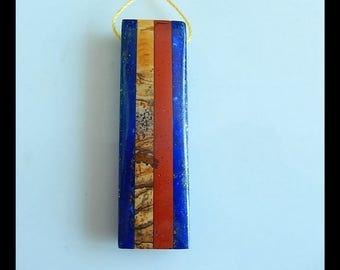 Red River Jasper,Picture Jasper,Lapis Lazuli Intarsia Gemstone Pendant Bead,Gemstone Bead,51x15x7mm,11.2g(b0677)