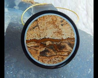 Picture Jasper,Black Agate Gemstone Intarsia Round Pendant Bead,36x36x6mm,13.8g(d0287)