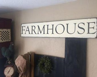 Farmhouse sign- cream with black- 10 x 48