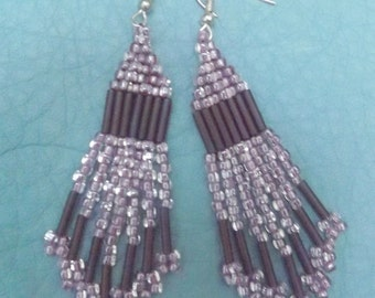 Earrings Mauve and Eggplant Purple, Hand Beaded Native American Style