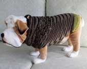 "Dog Sweater Hand Knit English Bulldog A Walk in the Woods 18"" inches long Merino Wool"