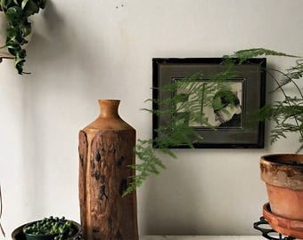 Vintage tall wooden vase