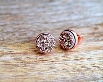 Rose Gold Druzy Dainty Earrings. Titanium Druzy Stud Earrings. 18k Rose Tiny Gold Earrings. Bridesmaid, Bridal Earrings. 8 mm Raw Gemstone