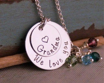We love you Grandma stack / Personalized Jewelry / Hand Stamped Mommy Necklace / Sterling Silver Jewelry / Personalized Custom Jewelry