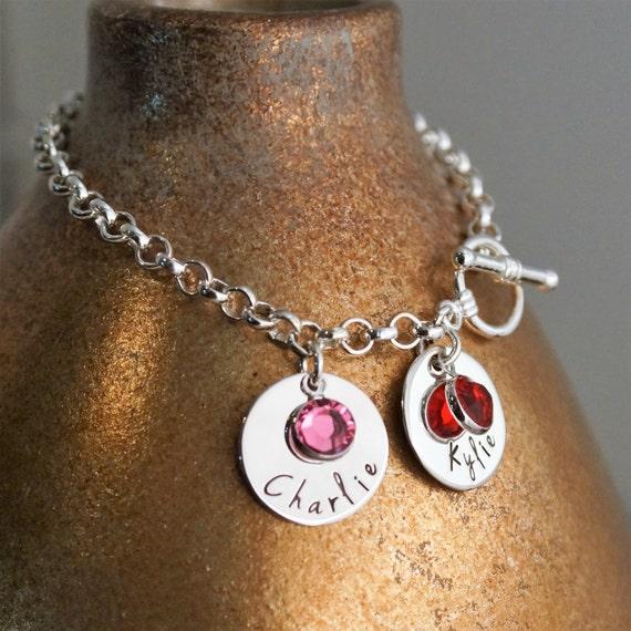 Personalized Charm Bracelet / Sterling Silver Toggle Bracelet with birthstone / Hand Stamped Jewelry / Mommy Bracelet / My kids