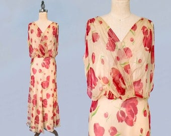 1930s Dress / 30s Sheer Floral Gown / DEEP V BACK / Stunning Ethereal Bias Gown