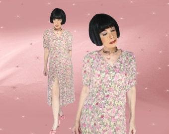 Plus Size Midi Dress, 30s Style Dress, Tea Length Floral, Plus Size Summer Midi, Full Figure Clothing, Oversize Floral Dress, Light Rayon
