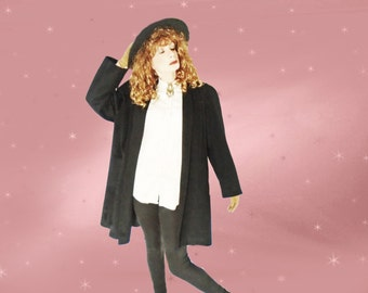 Plus Size Vintage Black Coat - 80s Swing Coat - Classic Winter Outerwear by Forecaster - 12
