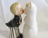 Vintage Napco Kissing Bride and Groom Novelty Salt and Pepper Shakers Cake Topper