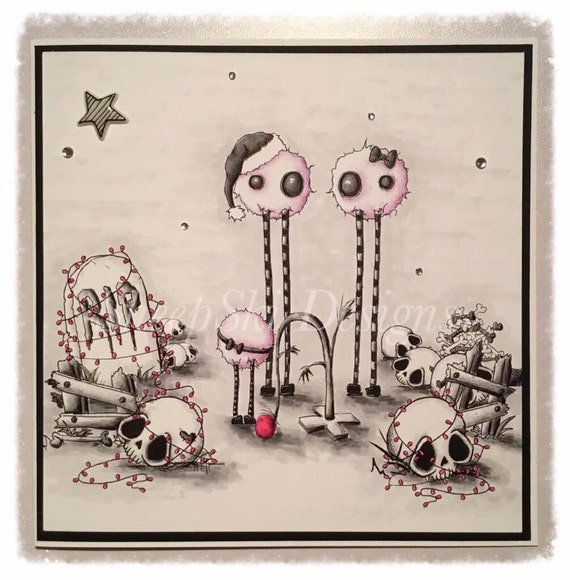 INSTANT DOWNLOAD Creepy Cute Grave Yard Christmas - A Very Merry Jones Christmas No.354 by Lizzy Love