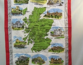 Vintage Tea Towel, Castles of Scotland, Map of Scotland Tea Towel, Wall Hanging, Kitchen Towel, Kitchen Decor, Linen Tea Towel