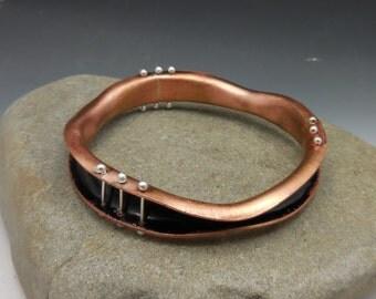 Jet Black Organic Enameled Bangle with Fine Silver Pins  Pinned Bangle Wave Bangle Black Silver Copper Bangle Bracelet