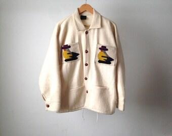 vintage SOUTHWEST guatemalan WOVEN COLLAGE bright jacket