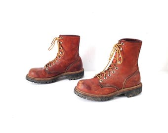 RED WING women's COMBAT style vintage 90s black boots -- size 9 women's vintage