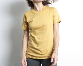 vintage GOLDEN YELLOW basic super SOFT thin faded t-shirt top