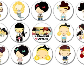 """1"""" - HARAJUKU LOVERS -  Lot of 15 Buttons - Pin Back Button Badge"""