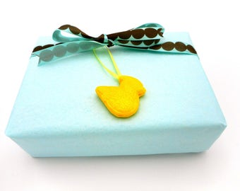 Handmade Mini Yellow Duck Gift Wrap Add On for Baby Showers and All Occasions, Sparkly Mini Baby Duck Keepsake Gift Tag