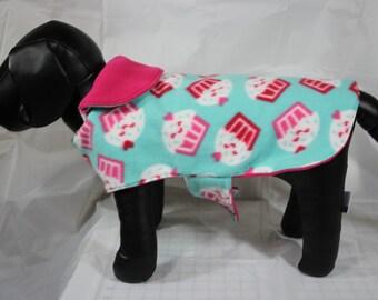 Small Fleece Pink and Teal Cupcake Pet Coat