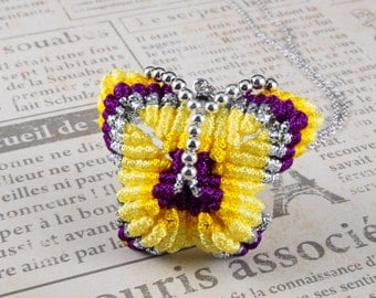 Chinese Knot Butterfly Brooch/ Pin/ Alligator Hair Clips/ Pendant - choose your color