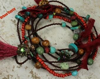 Long Multi Use Jewelry Bracelet Necklace Combination Vintage Bead Mix Red Tassel Necklace