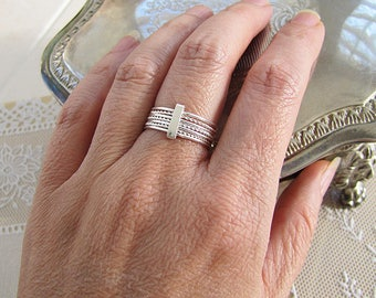7 day Sterling Silver Ring, 7 band ring, size 7,  Sale