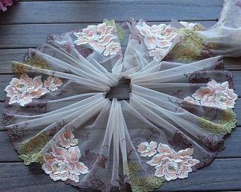 2 Yards Lace Trim Big Peony Flower Embroidered Scalloped Tulle Lace 8.66 Inches Wide High Quality