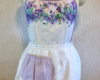 Up-Cycled Apron - Lavender Floral Valentine's Day Apron