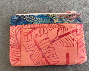 Wallet Coin Purse Card Carrier Pink Batik