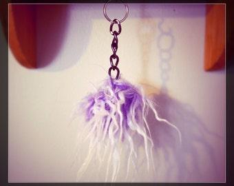 Purple Furry Pom Pom Fluff Ball Faux Fur Keychain Handbag Accessories