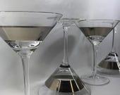 4 set of Silver banded martini glasses large