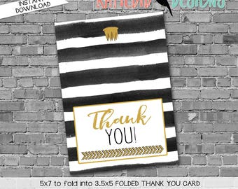 Wild Things Rumpus THANK YOU CARD folded 292 stripes gold crown tribal digital printable baby shower birthday retirement wedding stationary