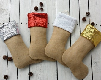 Sequins and burlap christmas stocking, burlap stocking, sequine stocking