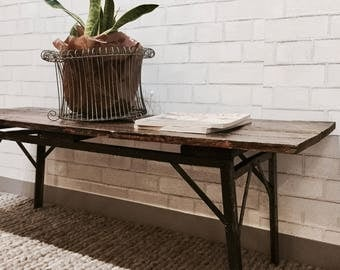 Rustic Vintage Coffee Table | Rustic Entry Bench | Rough Luxe | Reclaimed | Indsutrial | Workbench  | Outdoor Garden