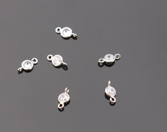 Silver Small round crystal Stone bead, clear cz connector, petite Clear Stone pendants, Gemstones, Beads, 4 pc, L818537