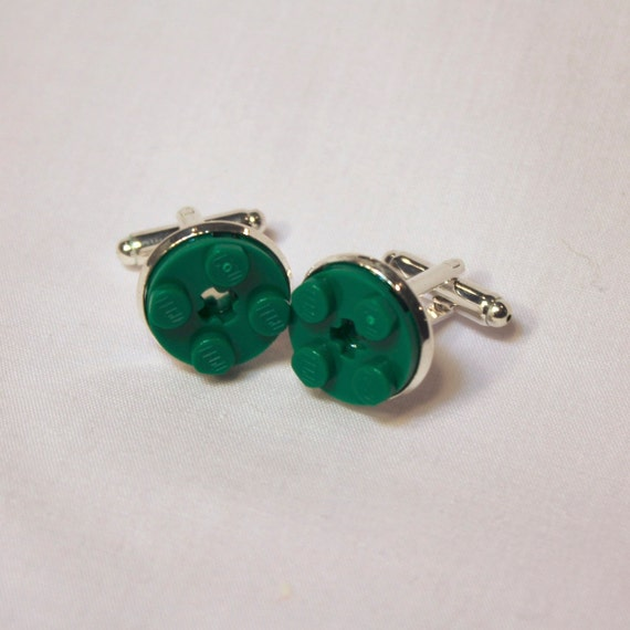 Dark Green Round Lego Plate Cuff Links - Silver plated - Groomsmen gift - Wedding accessories