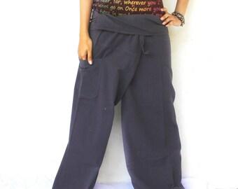 solid dark gray  and 1 pocket Thai fisherman pants,size S-XL,yoga,unisex pants.