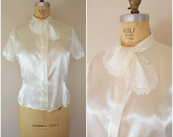 Vintage 1940s Satin Blouse / White Blouse / Medium