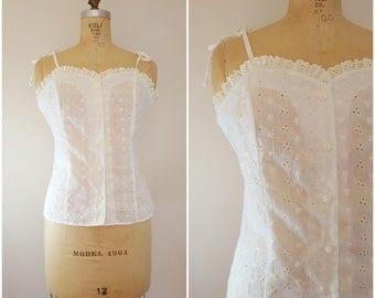 Vintage 1970s White Eyelet Lace Tank Top / Tie Shoulders / Medium Large