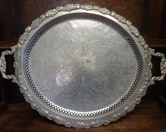Vintage North African Tunisian large metal tray decorative intricate floral circa 1940-50's / English Shop