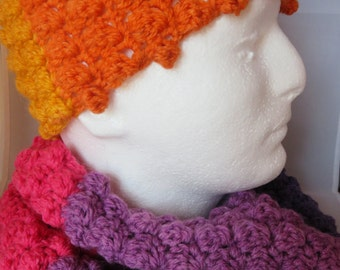 Ladies Multi-color Infinity Scarf, Handband and Fingerless Gloves