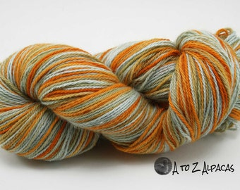 Hand Dyed Royal Baby Alpaca Yarn Worsted Weight - Candy Corn