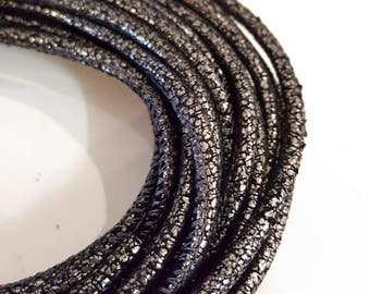 1 ft Black Metallic leather cord 3 mm Steel leather cord 4mm Reptile cord Black crackle effect reptile leather Black cord