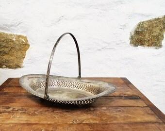 Tarnished Silver plated Oval tray basket bowl EPSN Sheffield England English filigree antique