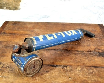 Vintage French garden tool sprayer pump insecticide blue industrial decor pest control