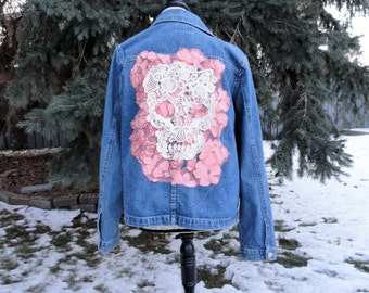 Cream Skull with Peach Floral Altered Couture Jean Jacket Boho Rocker Sz M - L