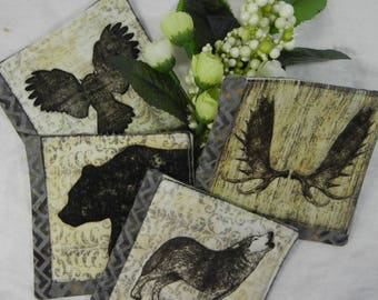 Quilted Coasters (4) -  Forest Animals #1